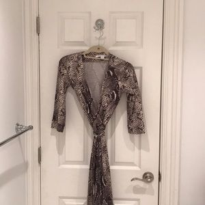 DVF Snakeskin Wrap Dress - Size 2
